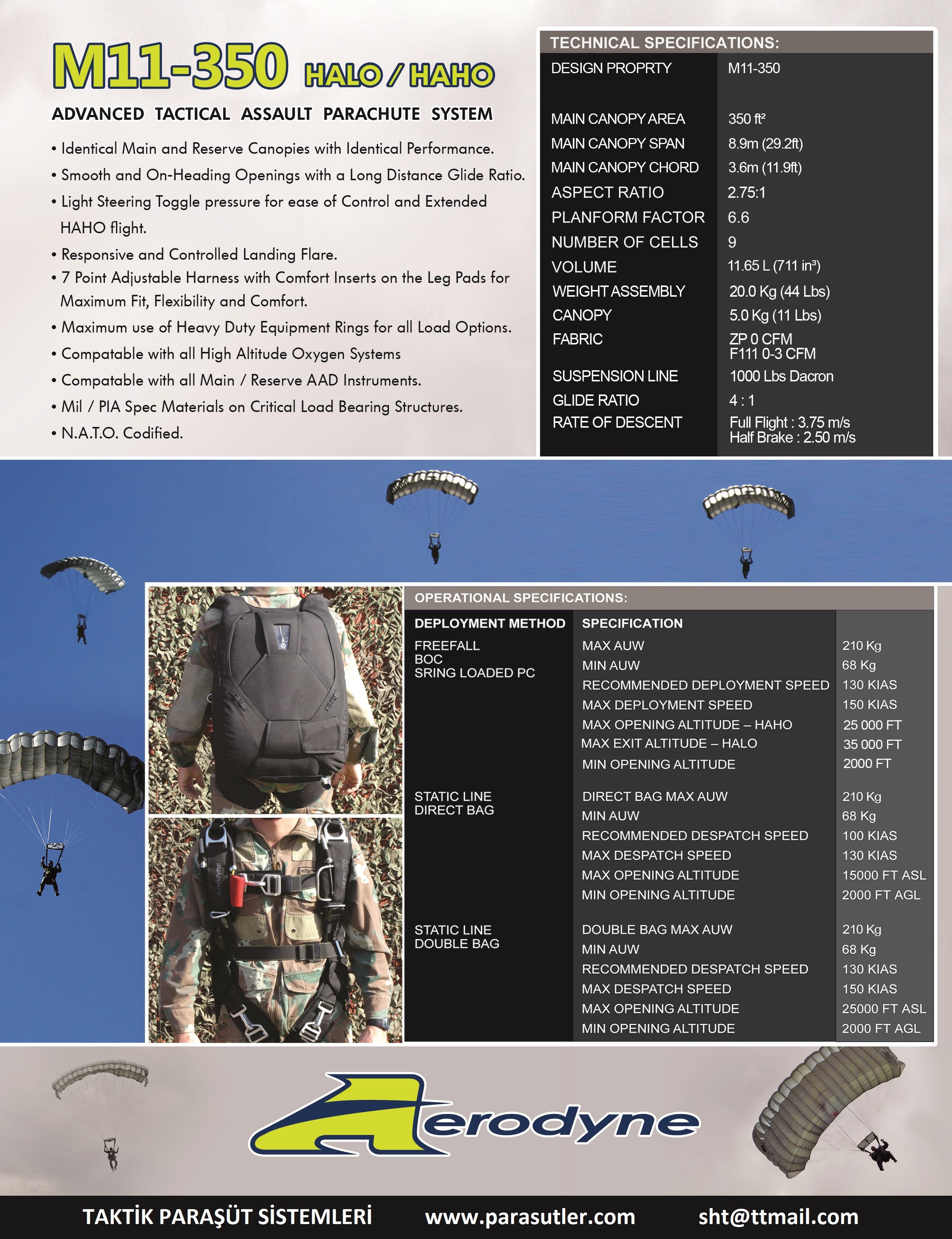 Taktik Paraşütler – Tactical Parachutes – Parachute Systems